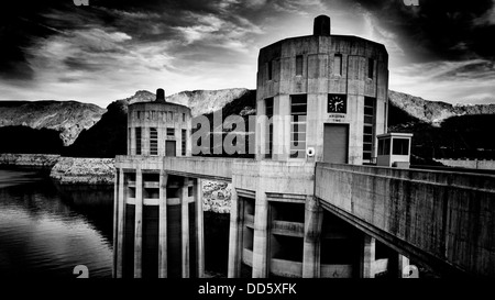 Water intake towers at Hoover Dam - Stock Photo