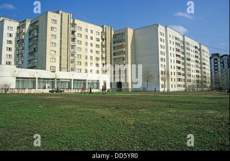 Russia, Moscow, Vladimir, Golden Ring, Typical communist era apartment blocks. - Stock Photo