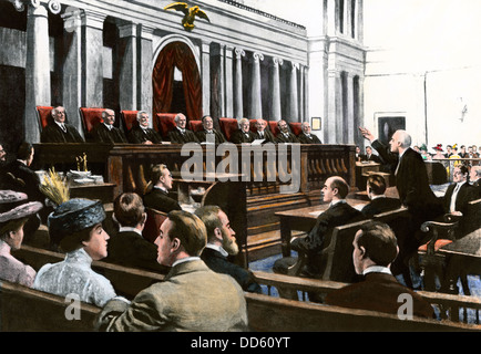 An argument before the US Supreme Court, Chief Justice White presiding, 1910. Hand-colored halftone reproduction - Stock Photo