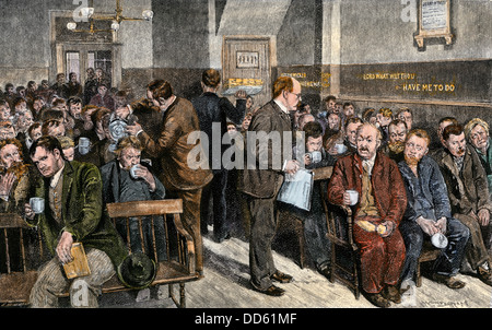 Coffee night for the homeless and poor at Water Street Mission in New York, 1890s. Hand-colored woodcut - Stock Photo