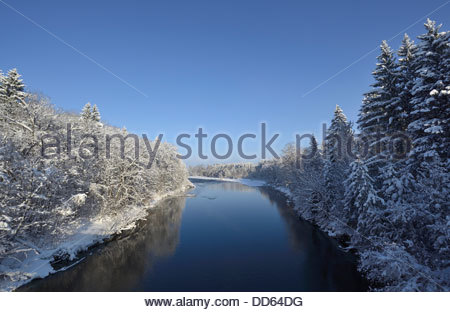Germany, Bavaria,View of Isar River - Stock Photo