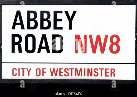 Close Up on The Abbey Road Street Sign In London - Stock Photo