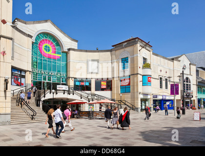 Queens arcade exterior view of entrance and steps Cardiff city centre South Glamorgan South Wales UK GB EU Europe - Stock Photo