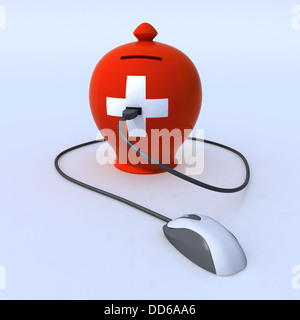 money box with switzerland flag and a usb mouse cable attached in the white cross - Stock Photo