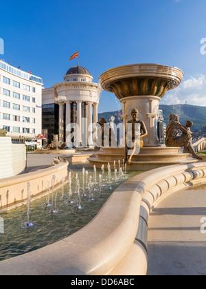 The Mothers of Macedonia Fountain, Skopje, Macedonia - Stock Photo