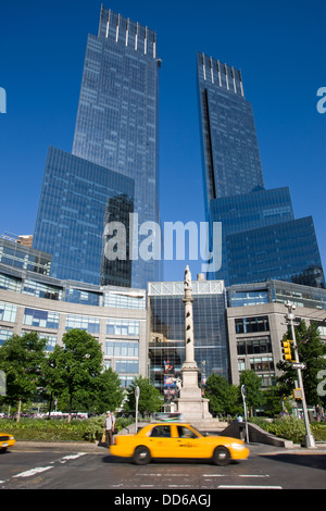 TIME WARNER TOWERS COLUMBUS CIRCLE MANHATTAN NEW YORK CITY USA - Stock Photo