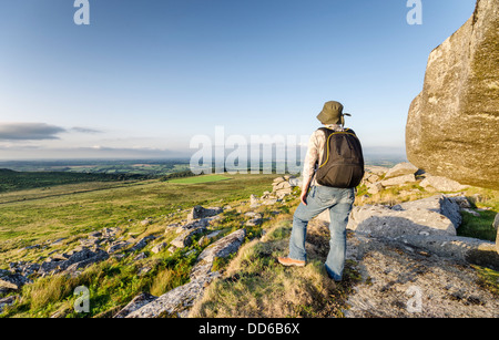 Hiking at Kilmar Toor on Bodmin Moor in Cornwall - Stock Photo