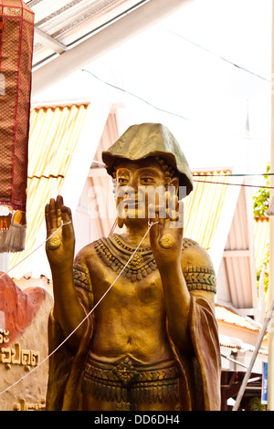 monk statue in thailand - Stock Photo