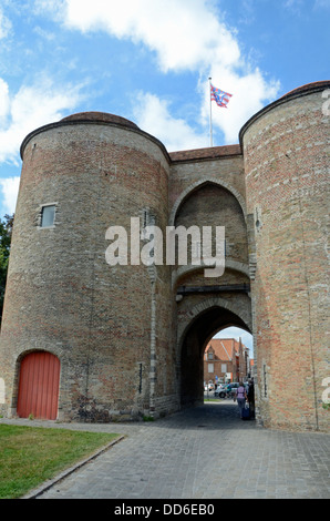 Gentpoort, (Gate of Ghent) Bruges, Belgium - Stock Photo