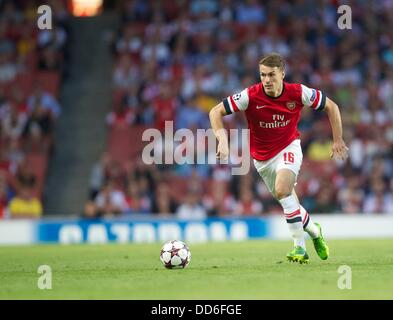 London, UK. 27th Aug, 2013. Aaron Ramsey of Arsenal during the Champions League 2nd leg Qualifier between Arsenal - Stock Photo