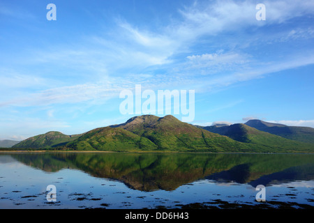 View south across Loch Na Keal, Isle of Mull, Argyll and Bute - Stock Photo