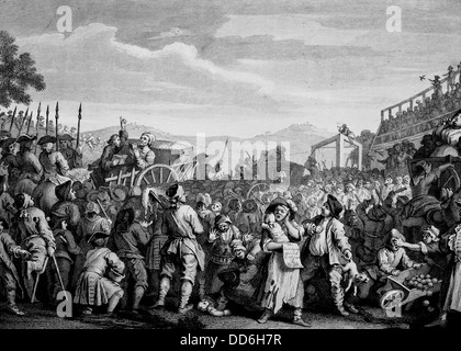 Industry and Idleness. The Idle Prentice Executed at Tyburn. From the original by William Hogarth. - Stock Photo