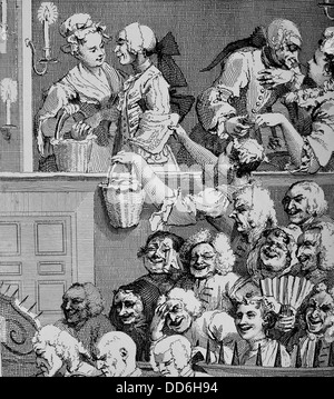 'The Laughing Audience' from the original painting and engraving by William Hogarth. - Stock Photo