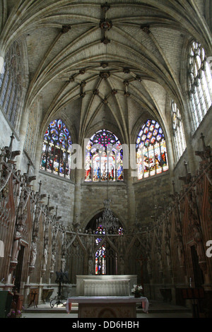 Interior of St Peter's Cathedral in Condom, Midi-Pyranees, Gers, France - Stock Photo