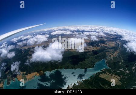Aerial view of from glider plane of Yesa lake (Embalse de Yesa), Aragon, Spain - Stock Photo