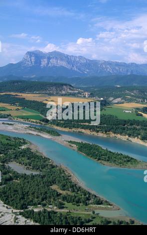 Aerial view of Rio Cinca river near Ainsa and back Sierra Ferrera, Aragon, Spain - Stock Photo