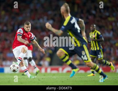 London, UK. 27th Aug, 2013. Jack Wilshere of Arsenal during the Champions League 2nd leg Qualifier between Arsenal - Stock Photo