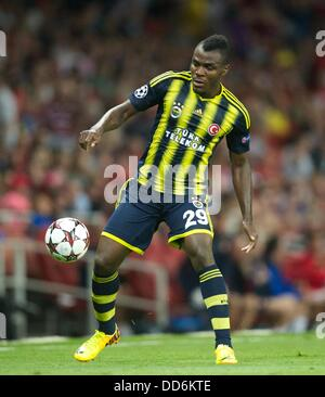 London, UK. 27th Aug, 2013. Emmanuel Emenike of Fenerbahce during the Champions League 2nd leg Qualifier between - Stock Photo