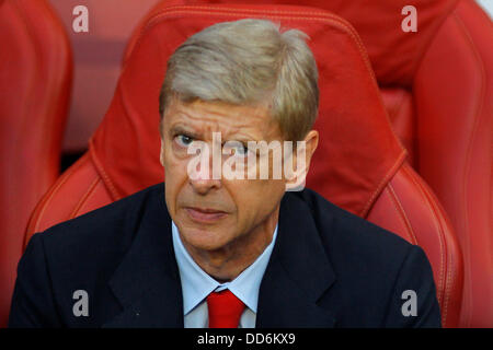 London, UK. 27th Aug, 2013. Arsenal's Manager Arsene Wenger during the UEFA Champions League Qualification round - Stock Photo
