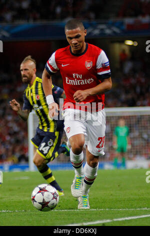 London, UK. 27th Aug, 2013. Arsenal's Kieran Gibbs runs with the ball during the UEFA Champions League Qualification - Stock Photo