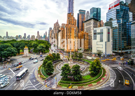 New York cityscape at Columbus Circle in Manhattan. - Stock Photo