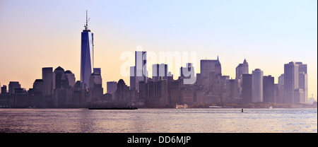 New York City Panorama spanning from Lower Manhattan to Brooklyn across the East River. Stock Photo