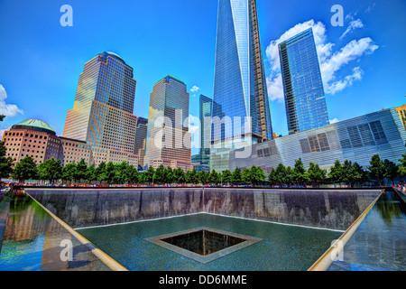 World Trade Center Memorial Fountain in New York City. - Stock Photo