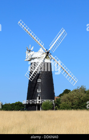 Burnham Overy windmill, tower and cap mill, 1816, Norfolk England UK English painted brick towered windmills - Stock Photo