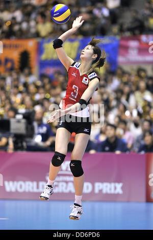 Saori Kimura (JPN), AUGUST 18, 2013 - Volleyball : 2013 FIVB World Grand Prix, Preliminary Round Week 3 Pool M match Japan 3-2 Czech Republic at Sendai Gymnasium in Sendai, Miyagi, Japan. (Photo by Ryu Makino/AFLO)