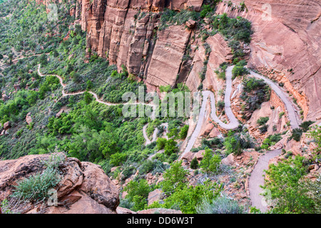 Walter's Wiggles switchbacks, Angels Landing Trail, Zion National Park, Utah - Stock Photo