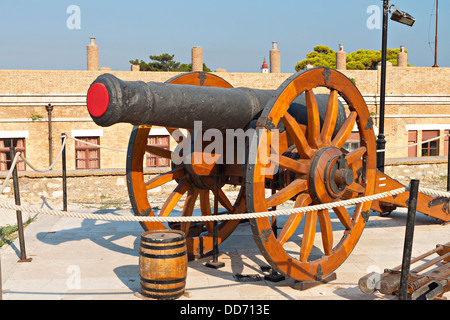 Old gun at the castle of Corfu island in Greece - Stock Photo