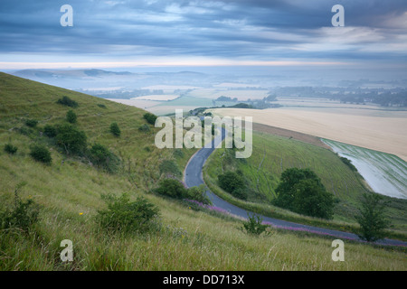The view from Firle Beacon across the Sussex countryside to Mount Caburn Stock Photo
