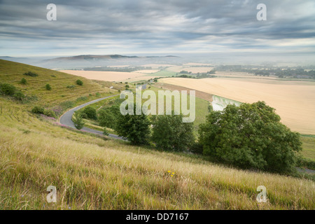 Viewpoint from Firle Beacon across the Sussex countryside to Mount Caburn Stock Photo