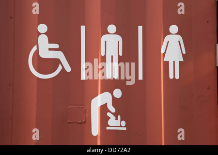 New Zealand, Toilet sign on container - Stock Photo