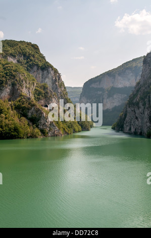 View on Drina river in big valley - Bosnia and Herzegovina. - Stock Photo