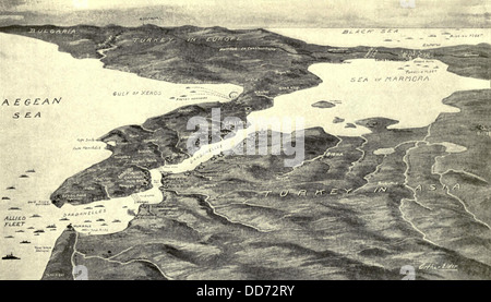 World War 1. Map of the Turkish Straits of the Dardanelles with the British fleet at the far right. The British - Stock Photo