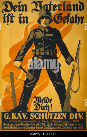 World War 1. German recruiting poster depicting a German soldier, holding a grenade and a rifle; in background is - Stock Photo