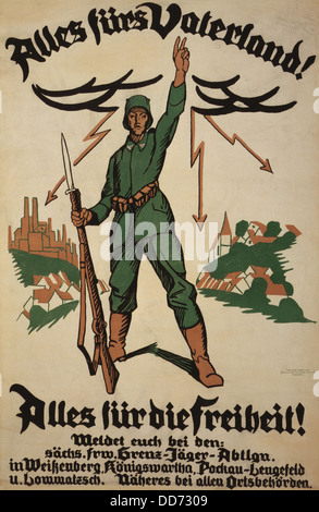 World War 1. German recruiting poster showing a German soldier with rifle in one hand and the other raised in the - Stock Photo