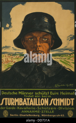 German recruiting poster showing a soldier against a background landscape. The text encourages German men to protect - Stock Photo
