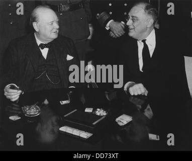 Franklin Roosevelt and Winston Churchill at Casablanca Conference. Jan. 12-23, 1943. Churchill advocated an Allied - Stock Photo