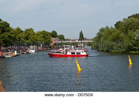Tourist boat, River Dee, Chester, Cheshire, UK - Stock Photo