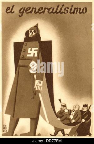 EL GENERALISIMO. 1936-37 Spanish Civil War postcard presenting Republican, anti-Franco propaganda. Caricature of - Stock Photo