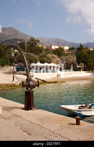 The harbour at Assos, on the Greek island of Kefalonia. - Stock Photo