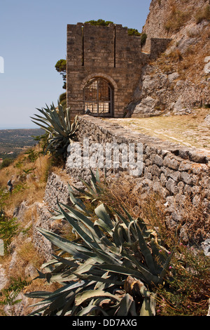 The entrance to the ruined castle of Saint George, on the Greek island of Kefalonia, Greece. - Stock Photo