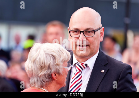 Kiel, Germany, 27. August, 2013, Prime Minister of Schleswig-Holstein, Torsten Albig, during an Election Campaign - Stock Photo