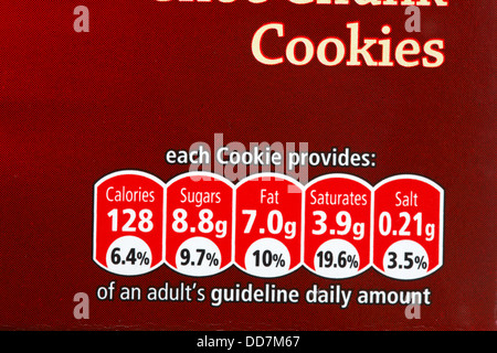 cookies each cookie provides gda information, guideline daily amount information, on cookie biscuit box - nutritional - Stock Photo