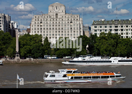 Shell Mex House and River Thames, London, England - Stock Photo