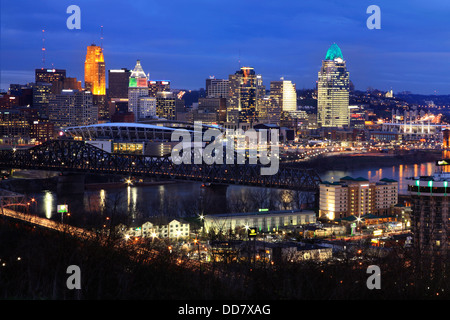Downtown City Lights And Skyscrapers On A Winter's Eve In Cincinnati Ohio Just After Sunset, USA - Stock Photo