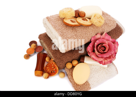 Towels and spa set isolated on white background. - Stock Photo