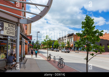 Cafe and shops on Broadway in downtown Boulder, Colorado, USA - Stock Photo